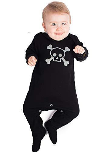 Mono con diseño de calavera y huesos cruzados de Baby Moo's para bebés; moderno pijama de pirata...