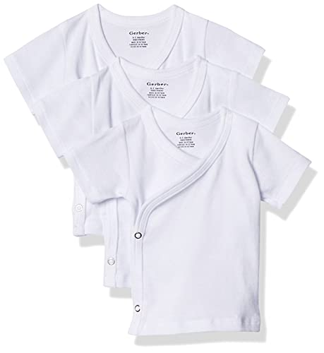 Gerber - Paquete de 3 camisetas unisex para bebé de manga corta con corchetes laterales - Blanco -