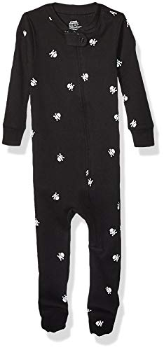 Amazon Essentials Baby and Toddler Zip-Front Footed Sleeper Infant Sleepers, Negro (Black Skull),...