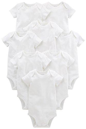 Simple Joys by Carter's Baby paquete de 8 body de manga corta ,Blanco ,Recién nacido