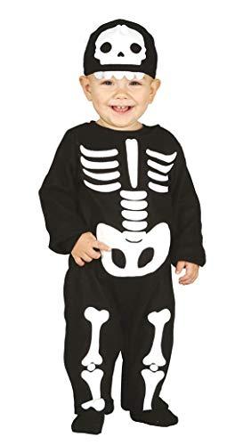 Guirca 87010 - Disfraz de esqueleto de 6/12 meses para niño, blanco y negro, 1 año