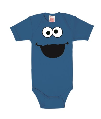 Logoshirt Barrio Sésamo - Monstruo de Las Galletas Cara Pelele para bebé - Body para bebé - Azul...