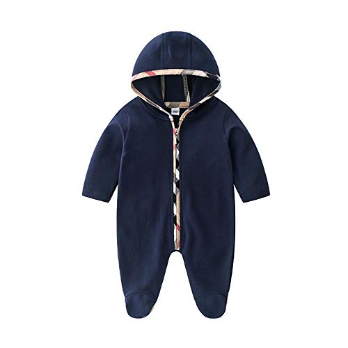 Mameluco de bebé para niños recién nacidos con cremallera de manga larga con capucha y pies de...