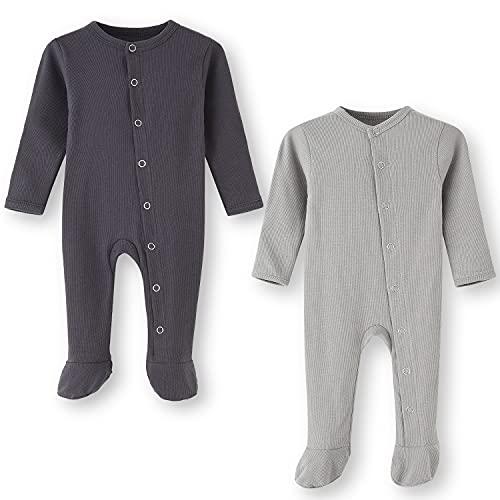 BINIDUCKLING Pijama para bebé con pie – Pijama unisex de algodón con manoplas – manga larga...