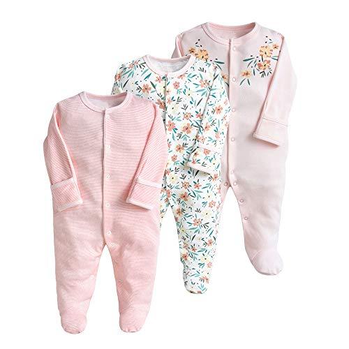 Pijama para bebé, pelele, paquete de 3, unisex, de algodón, 3 a 12 meses Rosa. 3-6 Monate