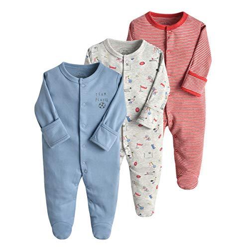 Bebé Pijama Pack de 3, Pelele de Algodón Niño Niña Mameluco Manga Larga Monos, Perfecto para...