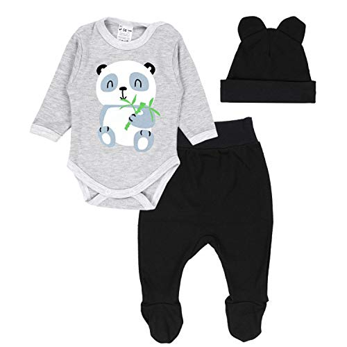 TupTam Conjunto de Ropa Bebé Body, Polaina, Gorra, Panda Gris/Negro, 62