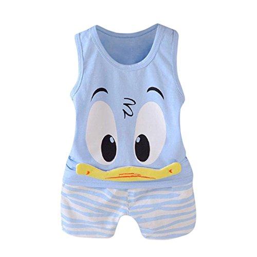 QinMM niños Bebes Animados Pato Camiseta + Pantalones Cortos Conjunto, Camisa sin Mangas (Azul, 12...