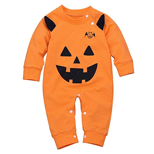 Borlai - Mono de bebé para niñas y niños, para Halloween, recién Nacido, Calabaza, Mono de 0-24...