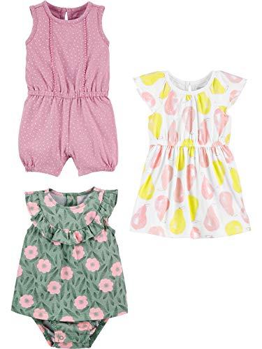 Simple Joys by Carter's 3-Pack Romper, Sunsuit and Dress Pelele, Lunares/Flores/Peras, 12 Meses,...