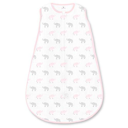 Amazing Baby by Swaddledesigns, Saquito de Dormir de Algodón con Cremallera de 2 Vías, Elefantes...