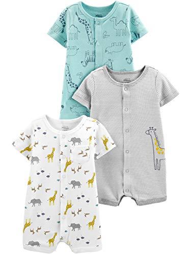 Simple Joys by Carter's 3-Pack Snap-up Rompers Infant-and-Toddler-Bodysuit-Footies, Estampado de...