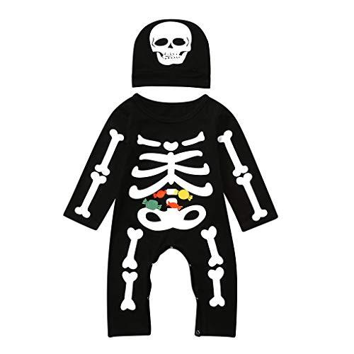 POLP Niños Halloween Conjuntos Unisex Monos Mameluco y Sombrero Niñas 2 años Disfraz Halloween...