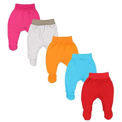 TupTam Pantalón con Pies de Bebé para Niña, Pack de 5, Mix de Colores 2, 68
