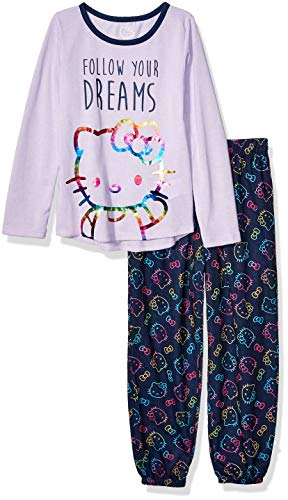 Hello Kitty - Conjunto de pijama grande de 2 piezas para niña - Morado - X-Small