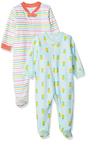 Amazon Essentials - Pack de 2 pijamas de niña para dormir y jugar, Girl Fruit, Bebé prematuro