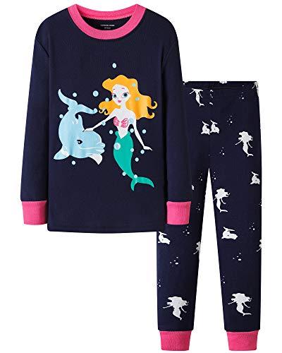 DAUGHTER QUEEN Niña Pijamas Conjunto Algodón Dos Piezas PJs 1-7 Años Manga Larga Pijamas Invierno...