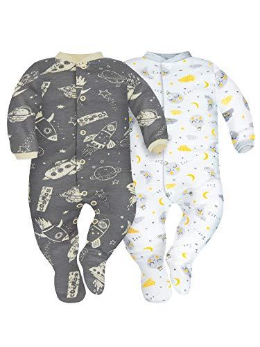 Sibinulo Niño Niña Pijama Bebé Pelele de ABS Pack de 2 Cosmos y Lunas 86(12-18 Meses)
