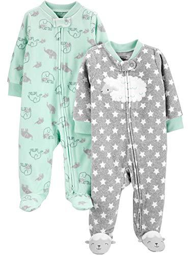 Simple Joys by Carter's 2-Pack Fleece Footed Sleep and Play para bebés y niños pequeños, Verde...