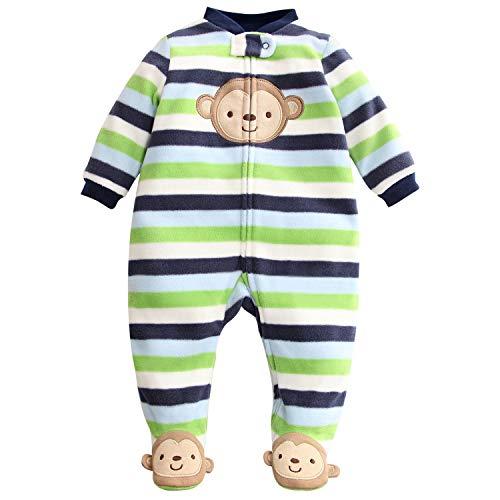 Bebé Mameluco Fleece Mono Manga Larga Bodys Linda Pijamas Cremallera Pelele 9-12 Meses