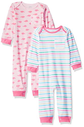 Amazon Essentials - Pack de 2 peleles para niña, Girl Dino, US 6-9M (EU 63-74)