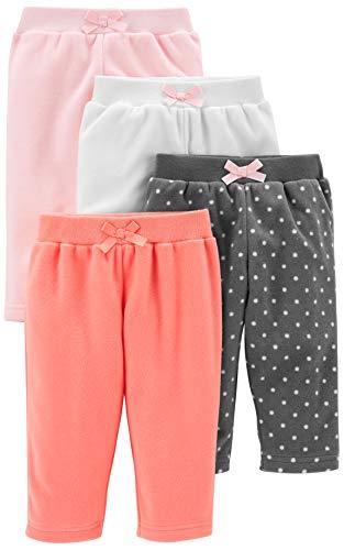 Simple Joys by Carter's paquete de 4 pantalones de forro polar para niñas ,Pink/Navy Dot/Ivory ,12...