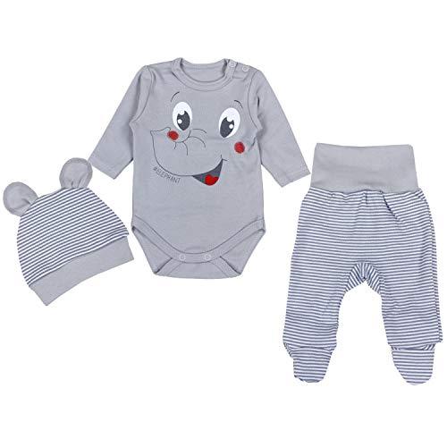 TupTam Conjunto de Ropa Bebés Body y Pantalones y Gorra, Elefante Gris, 56