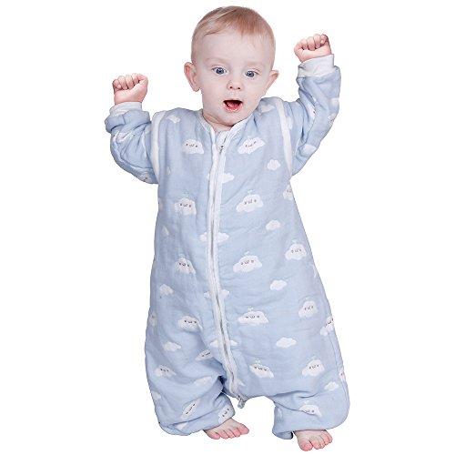 lictin–Saco de dormir para bebé Baby Saco de dormir Split Leg con mangas desmontables Blue...