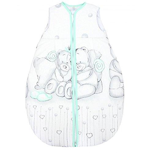 TupTam Saco de Dormir sin Mangas Calentado para Bebé, Teddy Gris/Menta Verde, 92-98