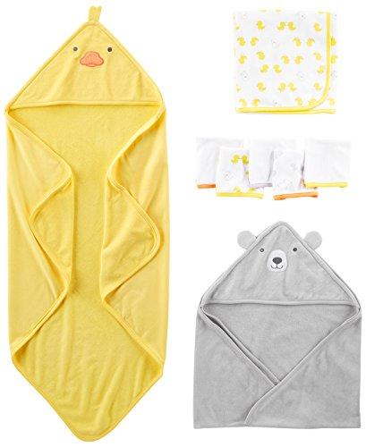 Simple Joys by Carter's Baby - Juego de toallas y paños (8 piezas) ,Amarillo/Gris ,One Size