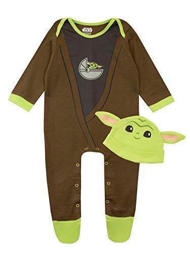 Star Wars Pijama Entera y Sombrero para Niños Bebés The Mandalorian Baby YodaMulticolor 6-9...