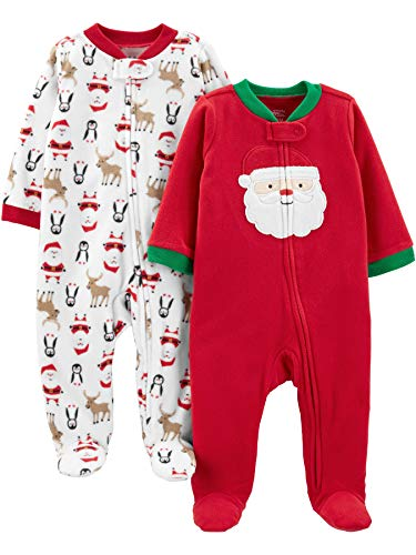 Simple Joys by Carter's Unisex bebé 2-pack Holiday Loose Fit Fleece Footed Pajamas