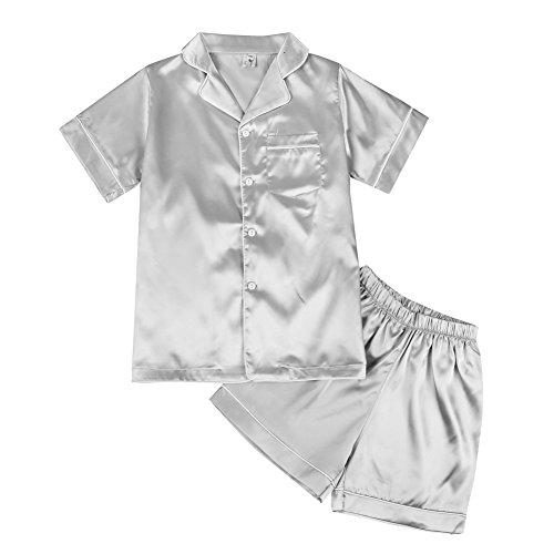 Pijama Niñas Niños, Miyanuby 2 Piezas Conjuntos de Pijamas de Seda/Ropa de Dormir de Manga...