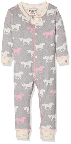 Hatley Organic Cotton Sleepsuits Pijama, Gris (Pasture Horses 020), 3-6 Meses (Talla del Fabricante:...