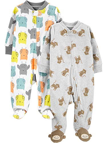 Simple Joys by Carter's 2-Pack Fleece Footed Sleep and Play Infant Toddler-Sleepers, Búho/Mono, 0-3...