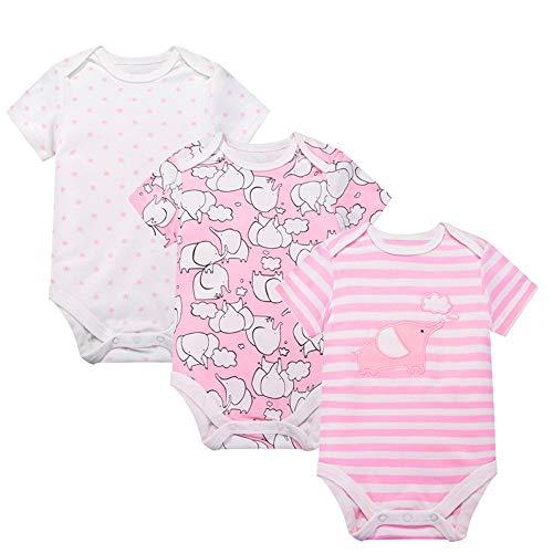 Minizone Del cuerpo del bebé, 3 Unidades pijama de manga corta Romper el mono del algodón para 36...