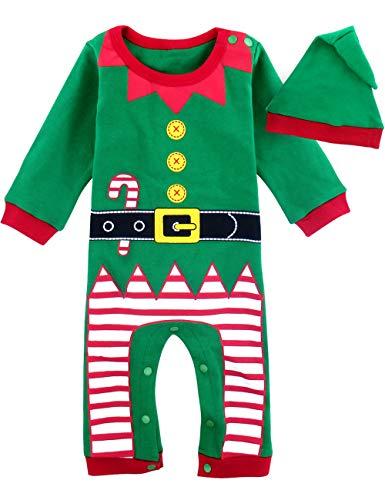 MOMBEBE COSLAND Mono Bebé Niño Manga Larga Disfraz Elfo de Navidad Gorro (Duende de Navidad, 6-9...