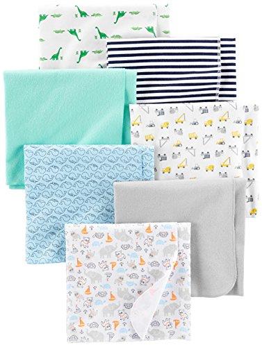 Simple Joys by Carter's - Juego de 7 mantas de franela para bebé ,Trucks/Animals/Dino/Whales ,One...