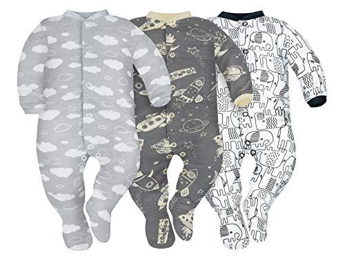 Sibinulo Niño Niña Pijama Bebé Pelele de ABS Pack de 3 Nubes, Cosmos y Elefantes Negros 86(12-18...