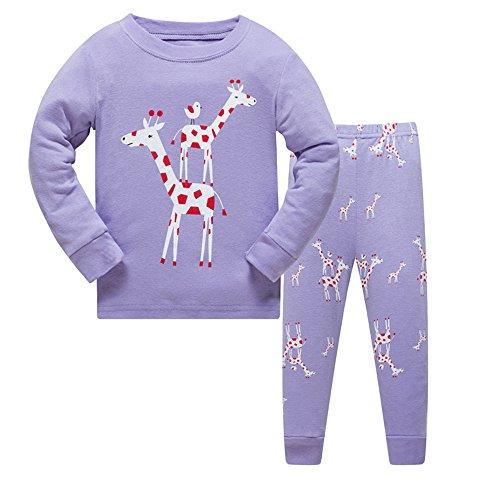 Qtake Fashion - Pijama de Navidad para niñas de 1 a 12 años, con reno (100% algodón). 2-pijamas...