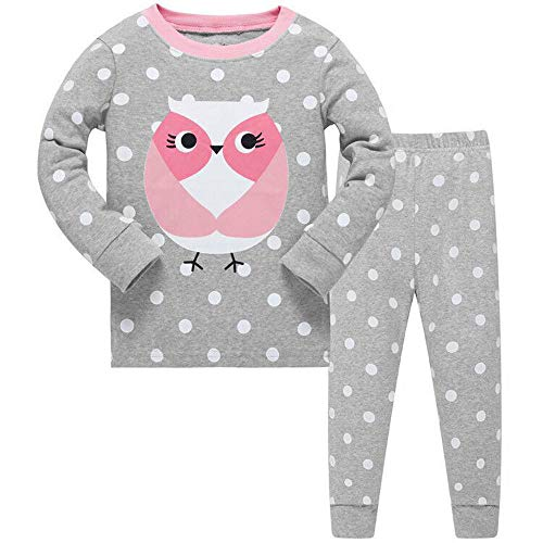 Conjunto de pijama para niñas de búho bonito, de manga larga, 100% algodón, ropa de dormir,...