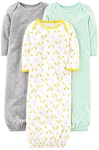 Simple Joys by Carter's Baby - Juego de 3 pijamas de algodón ,Gray/Green/Yellow ,US NB (EU 56-62)