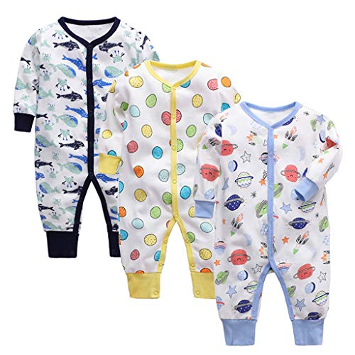 3 Piezas Bebé Mono Mameluco de Manga Larga Niños Niñas Body Peleles Pijama Regalo de Recien...