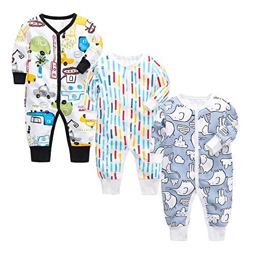 OPAWO - Pijama de algodón con estampado de bebé, unisex, paquete de 3 pijamas, de 0 a 24 meses...