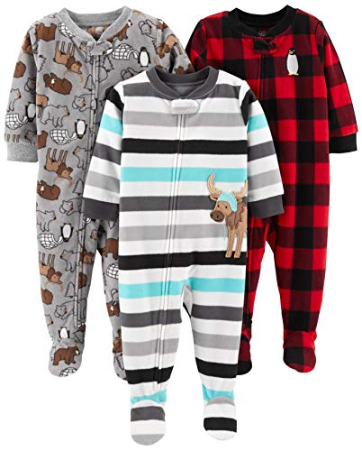 Simple Joys by Carter's 3-Pack Flame Resistant Fleece Footed Pajamas Infant-and-Toddler Sets, Arctic...