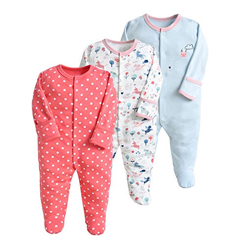 Pijama para bebé, pelele, paquete de 3, unisex, de algodón, 3 a 12 meses rojo rojo Talla:9-12...