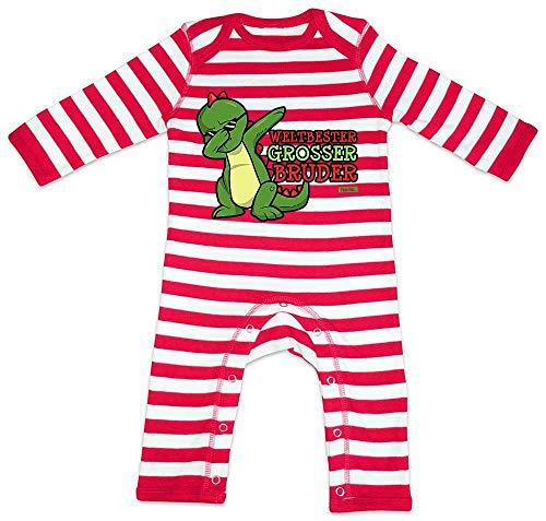 Hariz - Pijama para bebé, diseño de rayas rojo Bomberos rojo/blanco lavado. Talla:3-6 meses