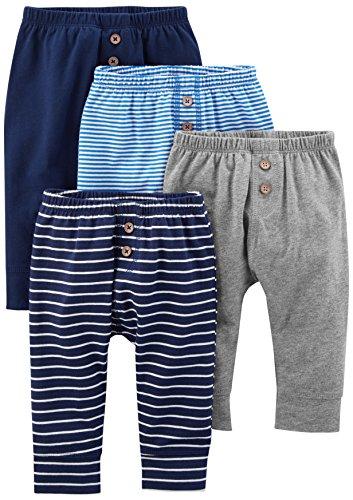 Simple Joys by Carter's pantalón para bebé, paquete de 4 ,Navy/Stripes/Gray ,24 Meses