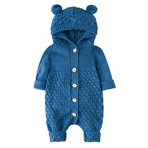AOCRD Mono de punto unisex para bebé, con orejas de oso, para recién nacidos, mono de pijamas para...