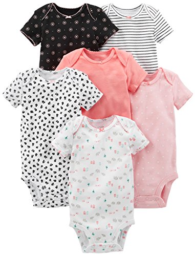 Simple Joys by Carter's Infant-and-Toddler-Bodysuits, Negro, Rosado, Blanco, (Pink, Black/White),...